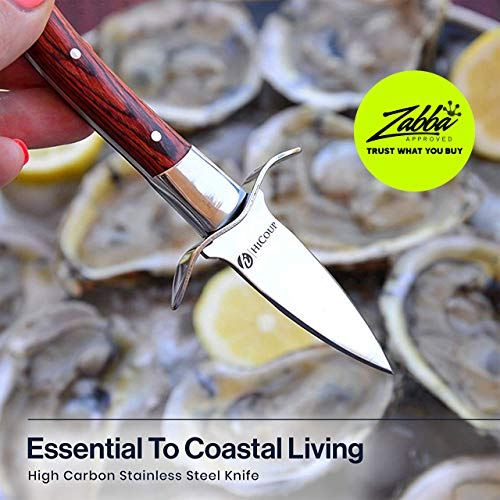 Oyster Knife By HiCoup - Premium Quality Pakka Wood-handle Oyster Shucking Knife with'Full Tang' Blade, Leather Sheath and Cut Resistant Gloves