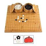 LOGO Go Game, Go Juego Vamos Vamos Bang Tablero de ajedrez de Madera/bambú Marcado láser No deformado 2 usos Niños Principiantes Piezas de imitación de Jade con Bolsa de Almacenamiento Peón YYFANG