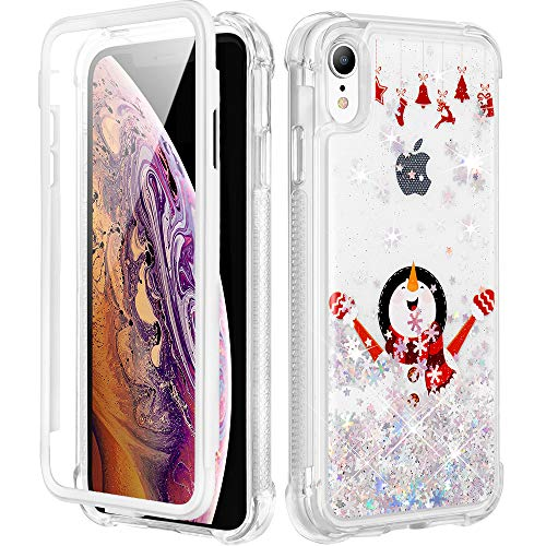 Caka Christmas Case for iPhone XR, iPhone XR Christmas Case Glitter Bling Full Body Case Built in Screen Protector for Girls Women Shockproof Girly Sparkle Liquid Case for iPhone XR -White Snowman