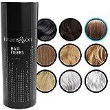 Brains & Son Streuhaar - Premium Haarverdichtung / Schütthaar mit Soforteffekt bei Geheimratsecken, Haarausfall und lichtem Haar - Haarpuder | 25g (BRAUN)