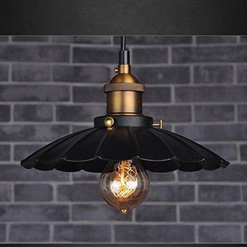 Abat-jour en Métal Retro Industriel Edison Simplicité Vintage Lampe Plafonnier Suspension en Forme Parapluie Noir