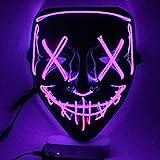 SOUTHSKY LED Mascara Mascarilla Negra Disfraz de Luces Neon Brillante Light Up 3 Modos For Chrismas Halloween Costume Cosplay Party (Púrpura)