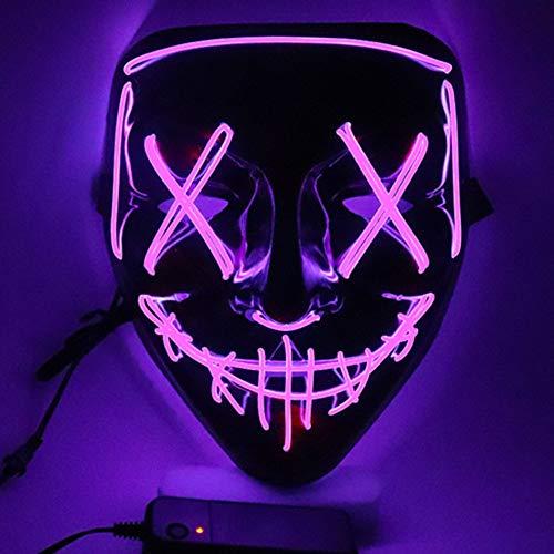 SOUTHSKY LED Maschera Faccia Nera Luminosa Notte Luce Neon El Wire Light Up for Chrismas Halloween Costume Cosplay Party (Viola)