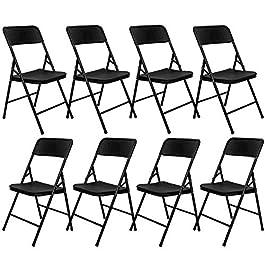 AMANKA 8 Chaises Pliantes jusqu'à 150kg – Siège de Balcon en Aspect Rotin – Chaise de Jardin Noire