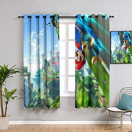 Sdustin Super mario Pixel Landscape Arcade blackout curtains for bedroom 52'x62'(132x 160 cm),Wide Blackout Curtains, Keep Warm Draperies,1 Pair