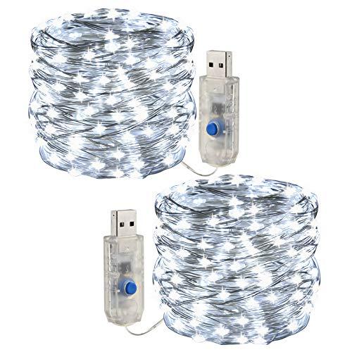 [2 pezzi] Fata leggera stringa, luce a corda a LED 10m /100 led 8 modalità Spina USB in luci a corda in rame alimentate impermeabili per esterni/interni, feste, matrimoni, Natale (bianca)