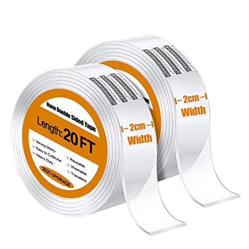 Double Sided Tape Heavy Duty-2 Pack/40FT, Yomozone Strong Traceless Removable Washable Nano Gel Grip Tape, Clear Sticky Adhesive Mounting Tape for Outdoor-Office-Car-Home Decor, Fix Carpet Mats