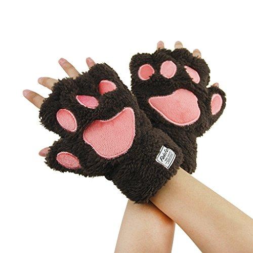 Guantes de felpa de medio dedo de invierno clido para mujeres y nias sin dedos de piel sinttica trmica suave de cachemira gatito gato garra oso pata lindo animal guantes traje cosplay guante