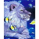 ZXDA Frameless León DIY Pintura por números Animal Pintado a Mano Pintura al óleo Lienzo para Colorear decoración de la Pared del hogar A7 45x60cm