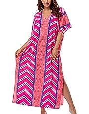 YouKD Dames Lange Kimono Maxi Bohemian Jurk Strand Coverup Badjas Grote Maat Lougewear One Size