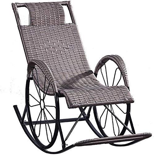 MGE Liegestuhl, Sonnenliege Terrasse Liegestühle, Teppiche und Zimmer Garten Sommermöbel Liegende mit verstellbarem, gepolsterten Kopfstützen im Freien Zero Gravity Deck Chair (Color : Brown)