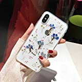 iPhone X/XS Flower Case, Shinymore Soft Clear Flexible Rubber Pressed Dry Real Flowers Case Girls Glitter Floral Cover for iPhone X/XS-Navy