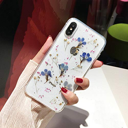 Shinymore iPhone X/XS Flower Case, Soft Clear Flexible Rubber Pressed Dry Real Flowers Case Girls Glitter Floral Cover for iPhone X/XS-Navy