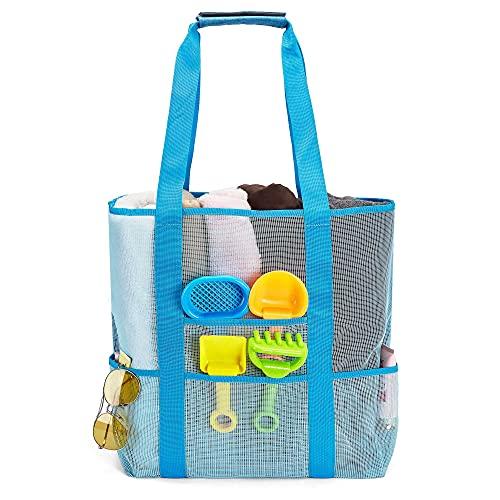 Bolsas de malla de playa extragrandes Totalizadores sin arena / bolso de hombro para picnic en la playa Piscina Compras Lavandería Juguetes Comestibles XXL Azul