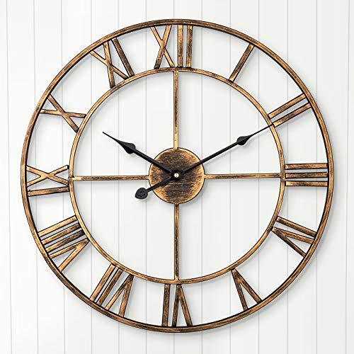 Leise Wanduhr, ARVINKEY europäisches Bauernhaus, Vintage-Uhr mit römischen Ziffern, 40 cm, Nicht tickend, batteriebetrieben, Metallskelett, dekorative Uhr für Zuhause, Küche, Café (Gold)