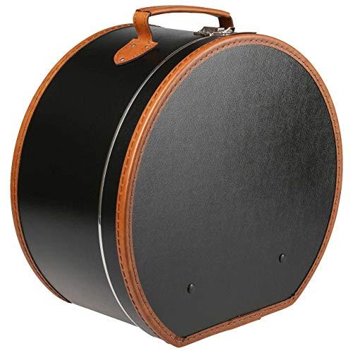 Lierys runder Hutkoffer schwarz - Maße: 40 cm x 21 cm - große Hutschachtel aus Kunstleder - Hutbox zur Aufbewahrung mit Tragegriff und Klappverschluss - Koffer für Hüte - auch als Deko für die Wohnung