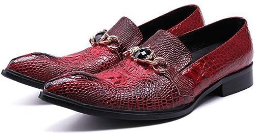 Rui Landed Oxford para el Hombre zapatos Formales de Deslizamiento en el Estilo de Cuero Genuino Vintage Textura cocodrilo Metealdecor Dedo del pie Acentuado Discoteca