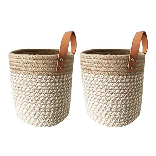 QOTSTEOS 2 cestas de almacenamiento redondas para colgar en la pared, con asas de cuero, para decoración del hogar, cesta de almacenamiento portátil