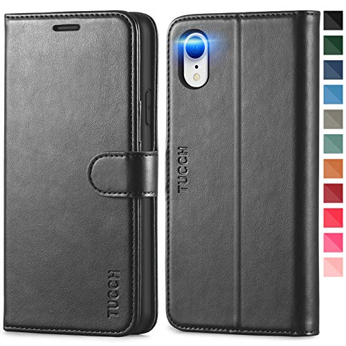 TUCCH iPhone XR Wallet Case, iPhone XR Case, Premium PU Leather Flip Cover [Shockproof TPU Shell] with Stand RFID Blocking Credit Card Slot Wireless Charging Compatible with iPhone XR 6.1, Black