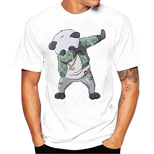 ZYooh Fashion Boys Mens Round Neck T-Shirt,Colorful Printing Casual Short Sleeve Tee Cotton Solid Color Short Tops (S, Panda)