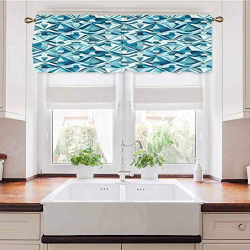 Valance Curtain Abstract Polygonal Diamond Forms Up and Down Glamour Concept Tile Blue Light Blue All Seasons Window Valance Rod Pocket Bathroom Curtain Valances 42 x 18 Inch