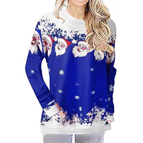 Zylione Frauen Pullover Langarmshirt Frohe Weihnachten Santa Schneeflocke T Shirt Bluse mit Rundhals...
