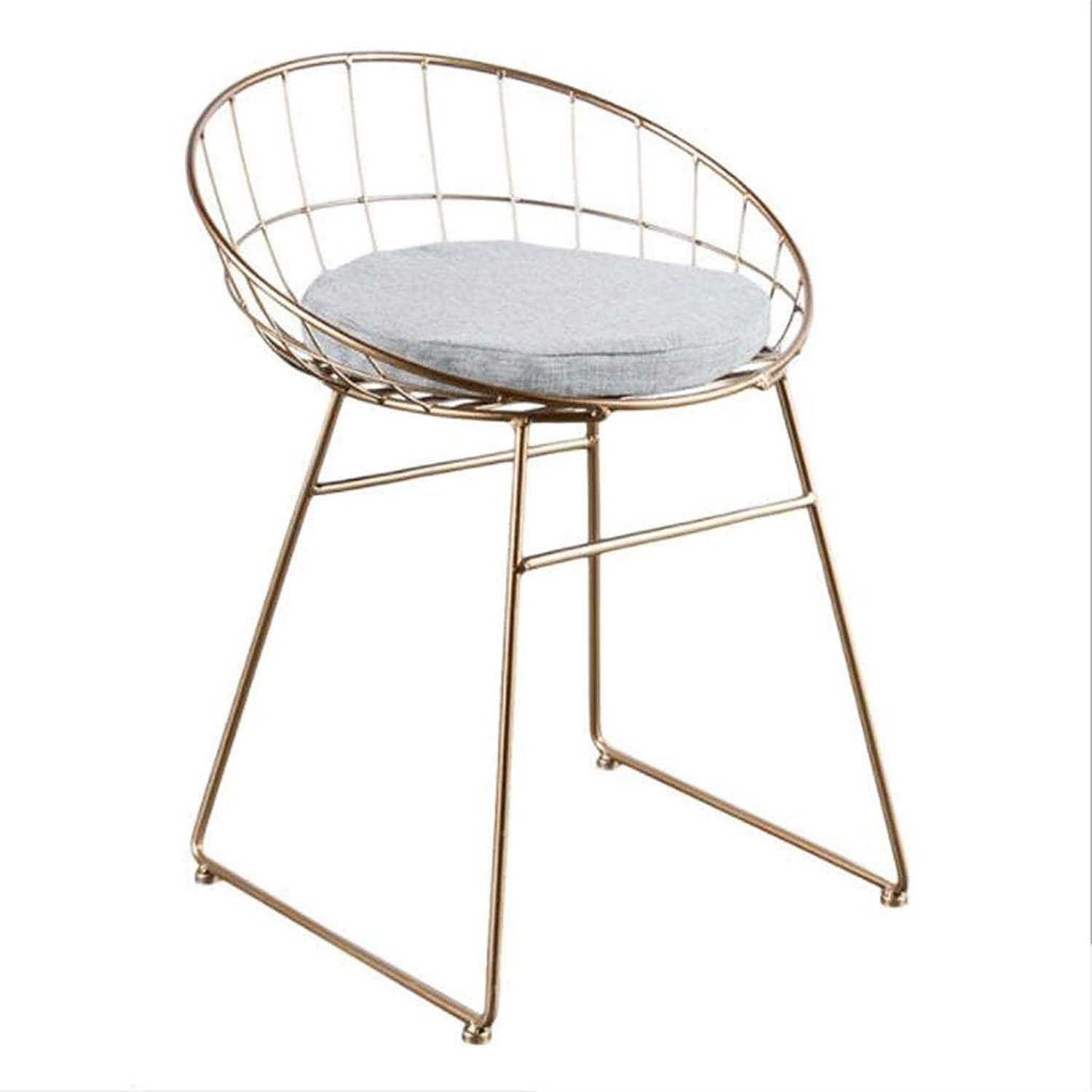 Bar stools Leisure Bar Stool High Stool Iron Vine Cushion Cushion Height 45cm, 75cm, Black and White gold Optional Height Chair (color   gold, Size   45cm)