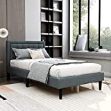 AUFANK Upholstered Platform Bed with Headboard Strong Wood Slat Support Mattress Foundation Easy Assembly Dark Grey Twin
