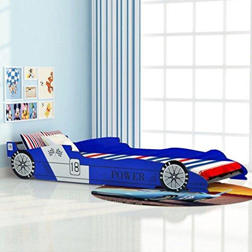 Vislone Cama para Niños Cama Infantil con Diseño de Coche Carreras DM y Listones de Madera Azul 90x200cm