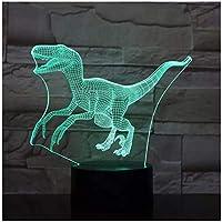 3Dイリュージョンナイトライト 恐竜の動物 スマートタッチ キッズベッドサイドランプ7色段階的に変化するタッチスイッチ3Dナイトライトキッズ目の錯覚ランプキッズランプギフトのアイデアとして女の子