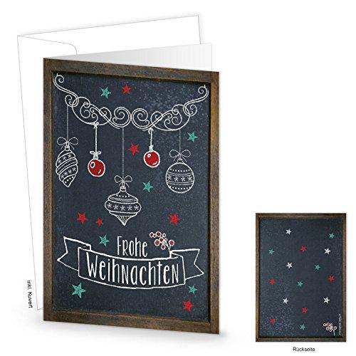 Logbuch-Verlag 20 Frohe Weihnachten Klappkarten schwarz weiß braun Kreidetafel-Optik - Weihnachtskarte DIN A6 leer zum Beschriften & Bedrucken