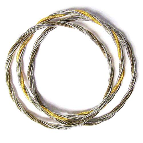Tigerstars Handcrafted Stack Of Two-Tone Twisted Silver Piano Wire Bracelet