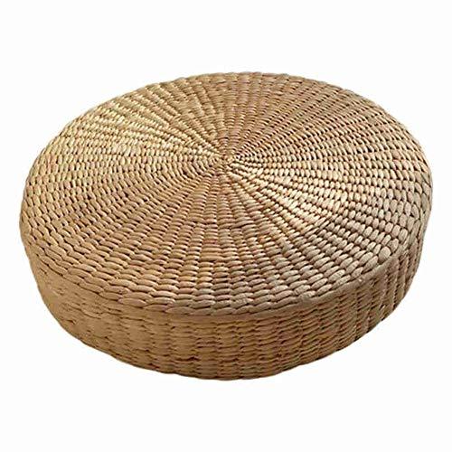 WanXingY Leichte Mute Meditation Mat 40cm Tatami Kissen Runde Strohgeflecht handgemachte Kissen Boden Yoga Stuhl Sitzmatte (Farbe : Multi)