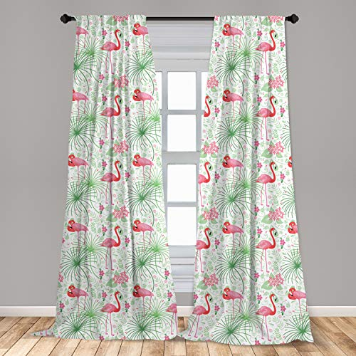 "Lunarable Nautical 2 Panel Curtain Set, Floral Pattern Flamingo Botany Greenery Floral Romantic Feminine Design Art, Lightweight Window Treatment Living Room Bedroom Decor, 56"" x 84"", White Green"