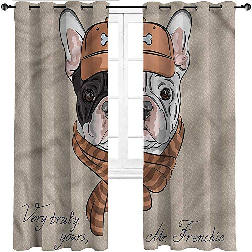 Interestlee Weatherproof Outdoor Curtains, Vintage Thermal Prevent Noise Grommet Drapes, French Bulldog Animal Humor Set of 2 Panels, 72 Width x 96 Length