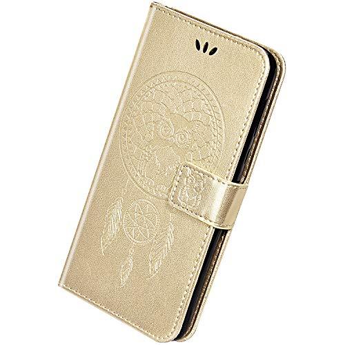 Herbests Compatible avec Samsung Galaxy A70 Coque Portefeuille Etui Pochette Housse de Protection à Rabat Magnétique Flip Case Capteur de Rêves Hibou Wind Chime Motif Embosser Cuir Case,d'or