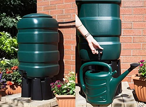 Fine Garden 100 litre Water Butt Kit with Stand Tap Hose Tap, T- Piece, Stand, Diverter / Hose 100 x 10 x 25 cm | Green