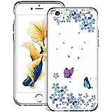 WINSHINE Funda para iPhone 6, iPhone 6S Carcasa Silicona Transparente Protector TPU Airbag Anti-Choque Ultra-Delgado Anti-arañazos Case para Teléfono Caso Caja - Mariposa