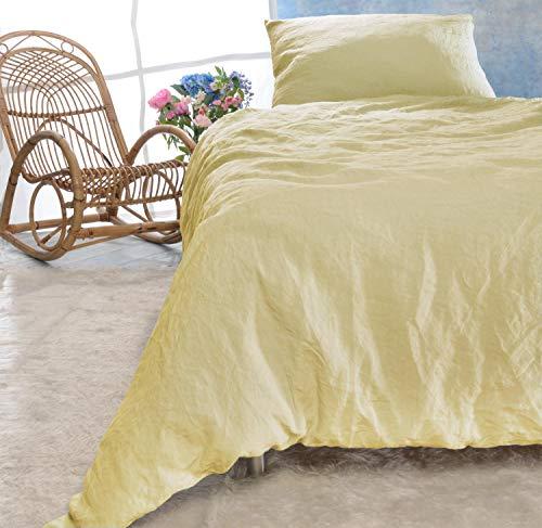 Leinen-Bettwäsche-Set Sintra 100% Leinen aus Portugal, Kissen 80x80cm und Bettbezug 135x200 oder 155x220cm (vanille-gelb, 155x220cm + Kissen 80x80cm)