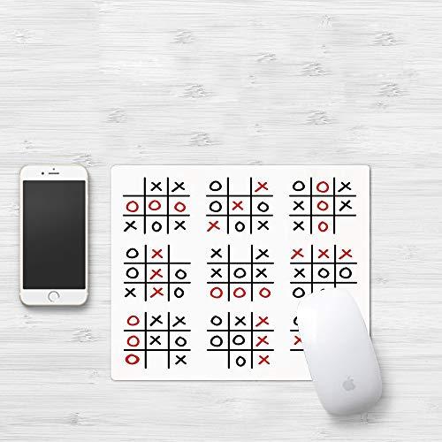 Mauspad mit genähten Kanten,Xo-Dekor, Doodle-Stil Tic Tac Toe-Spiel gedeckten Tisch mit X und O Buchstabe,rutschfeste Gummi-Basis-Mousepad, Gaming und Office mauspad für Laptop, Computer & PC320x250mm