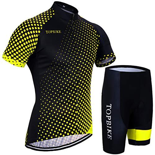 X-Labor - Maillot de ciclismo para hombre, talla grande, manga corta y pantalón con acolchado 3D, color amarillo 2XL