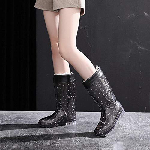 TOBEONE PVC Rainboots Mujeres Invierno Piel Caliente Zapatos Mujer Impermeable Botas Altas Botas Nieve Zapatos Calientes Para Las Mujeres