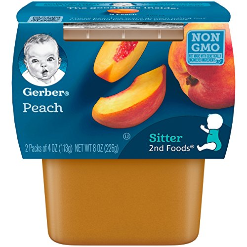 Gerber 2nd Foods Peaches, 4 Ounce Tubs, 2 Count (Pack of 8)