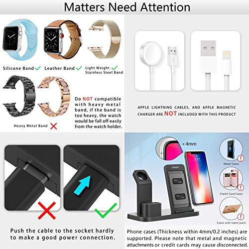 Conido Wireless Charger for iPhone, 3 in 1 Charging Stand for Apple Series Watch 5/4/3/2/1/, AirPods Pro 2 1 Charging Dock, Charging Station Compatible iPhone SE 2020,11 Pro Max, XS Max, XR, X, 8 Plus Photo #6