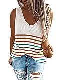 Happy Sailed Damen Ärmellos Strick Casual Tops T-Shirt Oberteil Tank Top Unterhemd Shirt ,S,1weiß