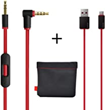 Original Replacement AUX Audio Cable Cord for Beats by Dre Headphones Solo/Studio/Pro/Detox/Wireless with MIC Red(Discontinued by Manufacturer)+Replacement Charger Cable for Beats by Dr Dre and Pill