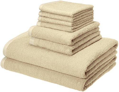 Amazon Basics Quick-Dry, Luxurious, Soft, 100% Cotton Towels, Linen - 8-Piece Set