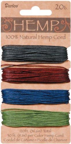 DARICE 1936-87 Hemp Cord Set, 20-Pound by 120-Feet, Darks, Assorted