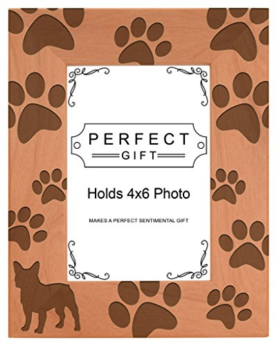 Gifts For All By Rachel Olevia Dog Lover Gift French Bulldog Paw Prints Natural Wood Engraved 4x6 Portrait Picture Frame Wood