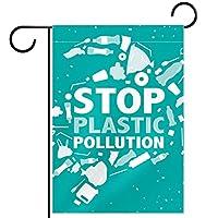 ホームガーデンフラッグ両面春夏庭の屋外装飾 12x18in,プラスチック汚染ゴミゴミ海洋カメを停止します